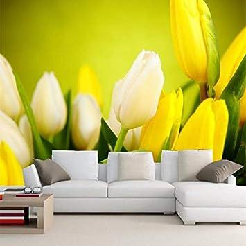 Wallpaper Fiori Gialli.3d Wallpaper Bella Fiori Di Tulipani Gialli Foto Amazon Com