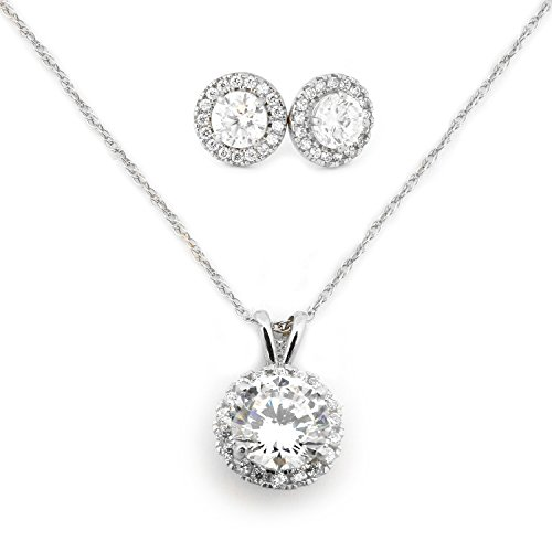 14k Yellow Gold Cubic Zirconia Halo Necklace and Earrings Set - 20'' by Beauniq (Image #4)