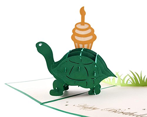 iGifts And Cards Turtle With Cupcake Birthday 3D Pop Up Greeting Card - Funny Animals, Tortoise, Cake, Candle - Folds Flat - Belated Birthday, Happy Birthday