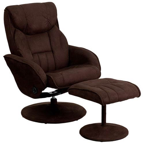 Parkside Contemporary Brown Microfiber Recliner and Ottoman with Circular Microfiber Wrapped Base by Parkside