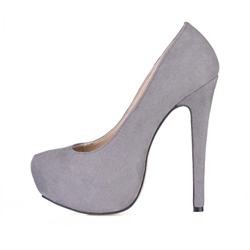 Best 4U? Women's Ankle Boots Rubber Sole Round Toe 14CM High Heel Elastic Velvet Comfortable Boots 3CM Platform Winter Grey kkrC4dD