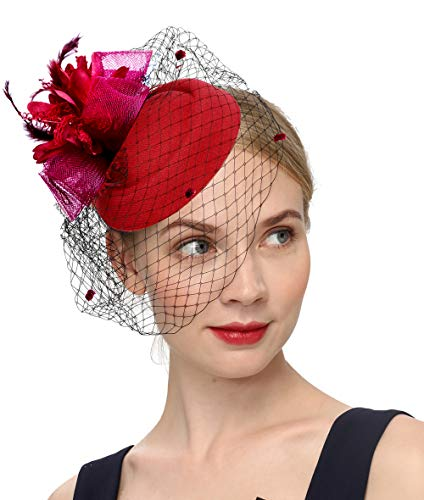 Cizoe Fascinator Hair Clip Pillbox Hat Bowler Feather Flower Veil Wedding Party Hat Tea Hat(1-Burgundy)