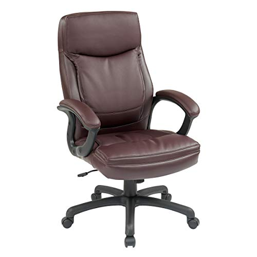 Office Star High Back Thick Padded Contour Seat and Back Eco Leather Executive Chair with Locking Tilt Control with Matching Stitching, Burgundy