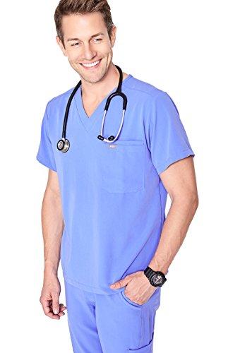 FIGS Medical Scrubs Mens Leon Two-Pocket Scrub top (Ceil Blue, S)