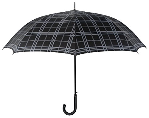 leighton-54-inch-auto-open-stick-umbrella-gray-plaid-leather-crook-handle-one-size