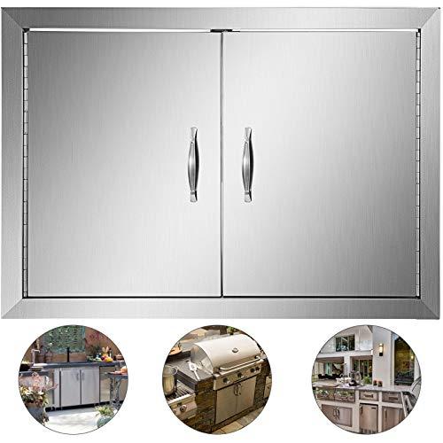 Mophorn BBQ Access Door BBQ Door 28 X 19 Inch BBQ Island Door Brushed Stainless Steel Perfect for Outdoor Kitchen or BBQ Island (28W x 19H) (Grill Security Door Patio)