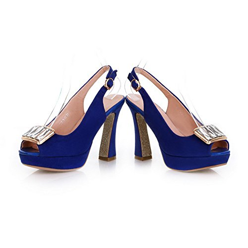 Solid Heels Womens Toe Sandals High Chunky Frosted Heel Platform Blue Peep PU VogueZone009 with Open Metal P8CdqPw