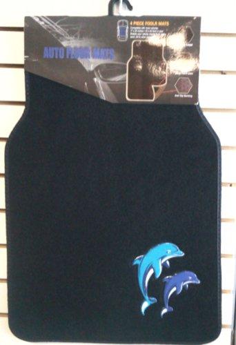 BDK Universal Fit 4-Piece Dolphin Design Carpet Floor Mat Set - (Black/Blue Dolphin)