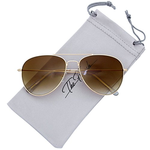 The Fresh Classic Large Metal Frame Gradient Lens Aviator Sunglasses with Gift Box (Gold, Gradient (Contact Lenses Halloween No Prescription)