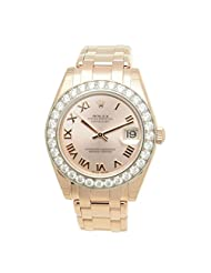 Rolex Women's 34mm Rose Gold Plated Bracelet & Case Sapphire Crystal Automatic Pink Dial Watch m81285-0020