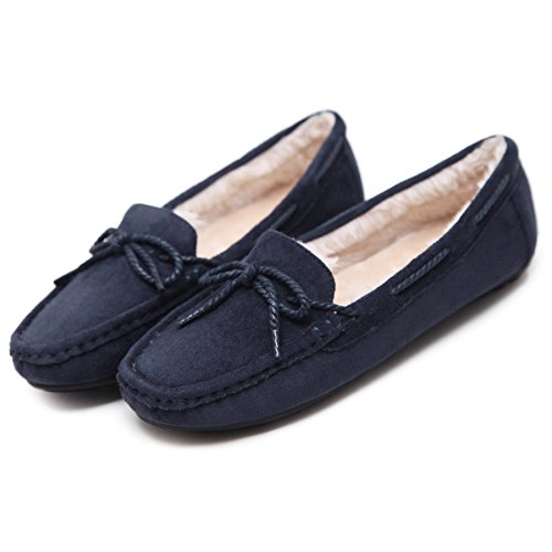 Faux Loafer Meeshine Soft Fur Slippers Comfy Moccasin Womens Indoor Outdoor Navy Znwqznxpf5