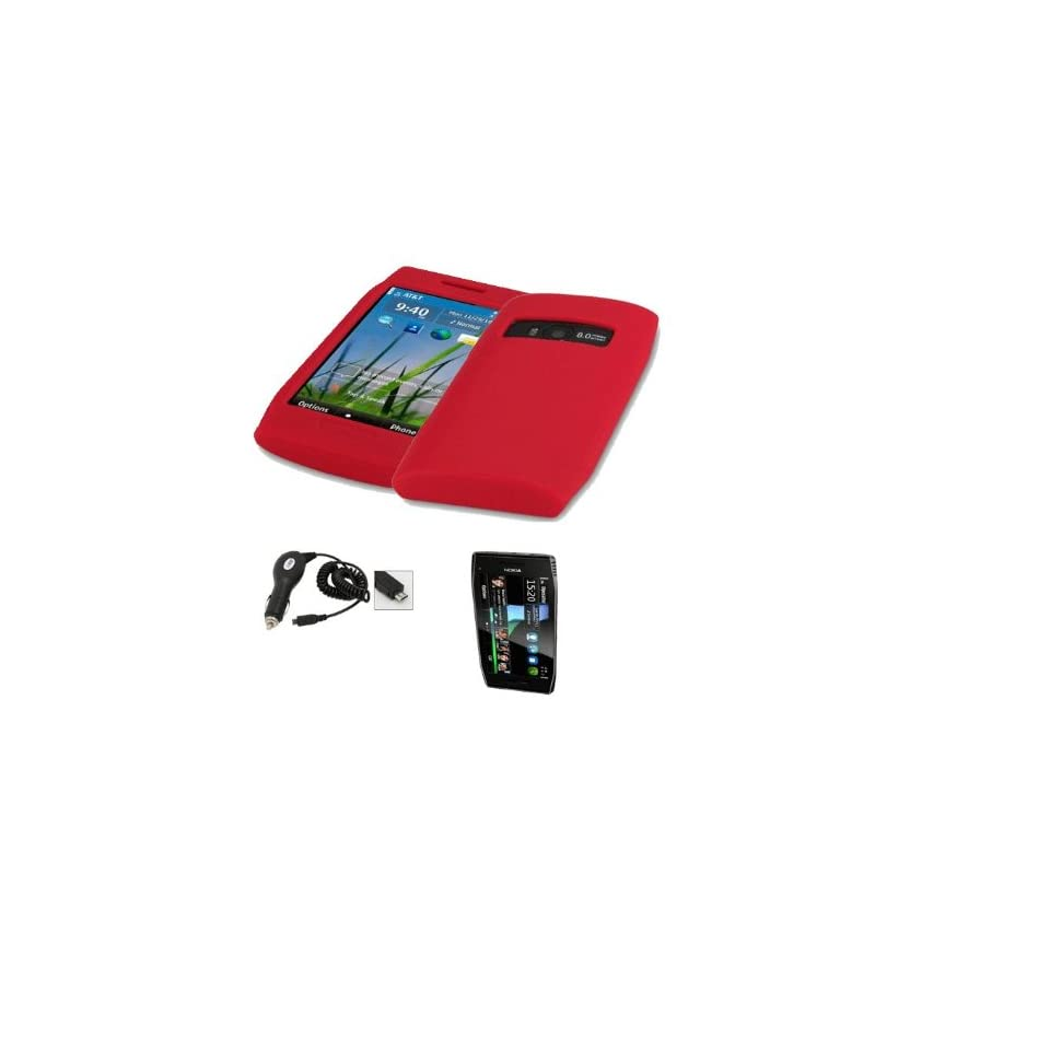 Mobile Palace   Red silicone skin case cover pouch holster with screen