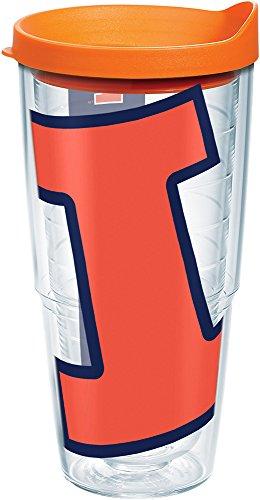 Tervis 1161618 Illinois Fighting Illini Colossal Logo Tumbler with Wrap and Orange Lid 24oz, -