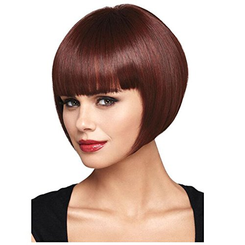 QWERT Co. WANG Bobo Wigs 8 Inch Short Straight Synthetic Gradient Heat Resistant Bob Women Wig With Bangs,Red ()