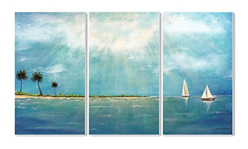 Stupell Home Décor Azure Breeze 3-Piece Triptych Wall Plaque Set, 11 x 0.5 x 17, Proudly Made in USA
