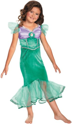 Girl'S Costume: Ariel Sparkle Classic- Small *** Product Description: Seafoam Dress With Little Mermaid Ariel Character Cameo. Children'S Small Fits Girl'S Size 4-6. ***