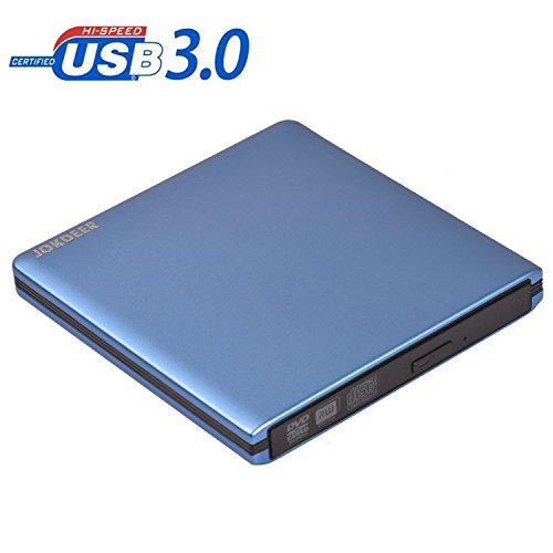JOKDEER USB 3.0 External DVD-RW Drive Burner All-aluminum Ultra Slim Portable DVD Rewriter Burner CD/DVD-RW Writer Burner for Laptop and Desktop PC Windows and Linux OS Apple Mac Macbook Pro (Blue)