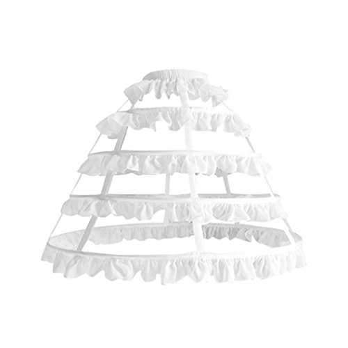 COUCOU Age Women Girls Petticoat Underskirt Crinoline Lace Ruffle Pannier Hoops -