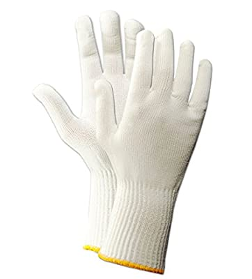 "Magid 15NYL KnitMaster 101/2"" Lightweight Machine Knit Nylon Gloves, Large, White (One Dozen)"