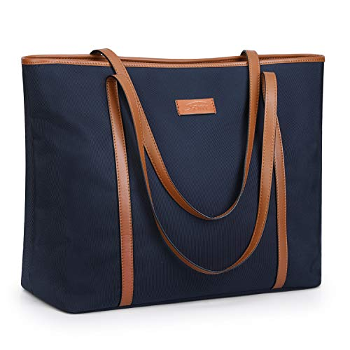 S-ZONE 15.6 inch Large Laptop Tote Bag for Women Water Resistant Nylon Work Shoulder Purse with Padded Compartment (Navy Blue)