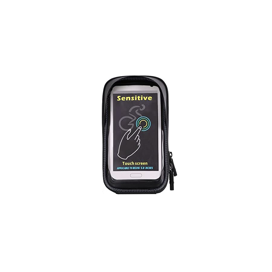 Bike Bag, Waterproof Touch Screen Bicycle Handbar Front Phone Frame Bag Holder For iPhone X 8 7 Plus 6s 6 plus 5s 5 / Samsung Galaxy s7 s6 note 7 Cellphone Below 6.0 Inch With Sun Visor