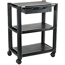 VIVO Height Adjustable Mobile Computer Machine Cart Smart Stacked Rolling Printer Stand and Storage Drawer (CART-V00B)