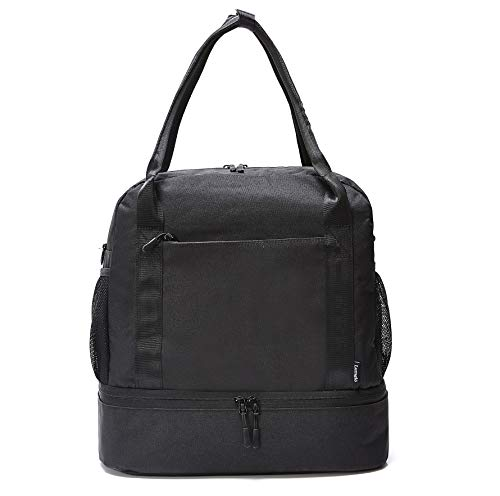 - Carry-on Tote Duffel Bag with Bottom Compartment, Slides over Luggage handle