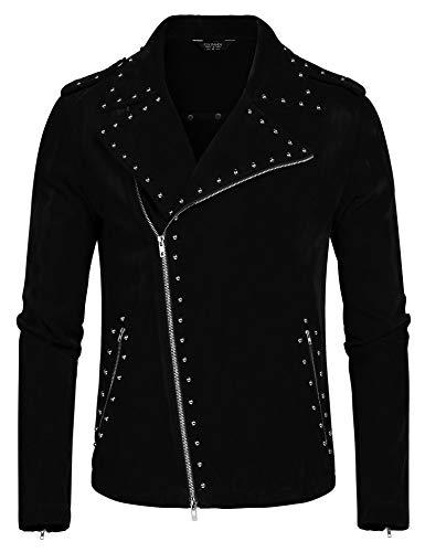COOFANDY Men's Suede Leather Rivet Design Punk Rock Motorcycle Biker Jacket Zipper Coat