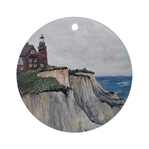 CafePress Block Island Lighthouse On The Clif Round Holiday Christmas Ornament