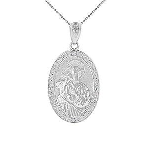 14k White Gold Saint Joseph Diamond Oval Medal Pendant Necklace (1