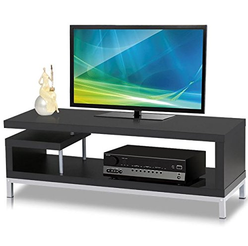 Teak Long Model (New Modern Black TV Stand Entertainment Television Center Console Media Contemporary LCD Plasma Furniture Storage Cabinet Unit Living Theatre Home Flat )