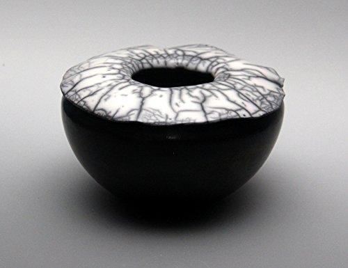 Black Naked Raku Pot with Crackle Top #4