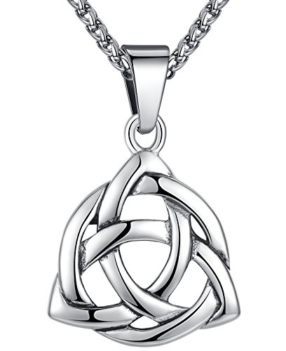 Stainless Steel Celtic Knot Irish Triquetra Lucky Love Pendant (Large) Necklace, 24
