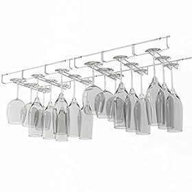 Wallniture Napa Stemware Wine Glass Hanger Rack Under Cabinet Kitchen Bar Storage White 13.5 Inch Set of 2