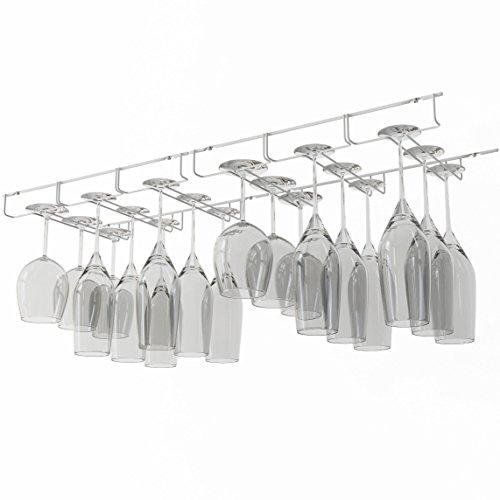 White Wine Stemware (WALLNITURE Stemware Wine Glass Hanger Rack Under Cabinet Kitchen Bar Storage White 13 Inch Set of 2)
