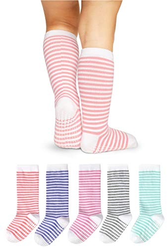 Striped Woven Stockings - LA Active Knee High Grip Socks - 5 Pairs - Baby Toddler Non Slip/Skid Cotton (Girls Stripes, 4-6 Years)