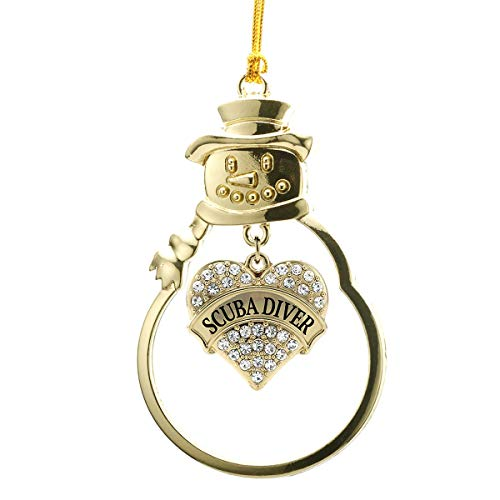 Inspired Silver - Scuba Diver Charm Ornament - Gold Pave Heart Charm Snowman Ornament with Cubic Zirconia Jewelry