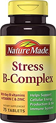 Nature Made Stress B Complex w. key B Vitamins + Vitamin C & Zinc Tablets 75 Ct