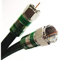 125ft Black Indoor/Outdoor RG-6 Coax Cable 75 Ohm UV resistance (CATV, Satellite TV, or Broadband Internet) with Quad Shield COMPRESSION COAXIAL CONNECTORS