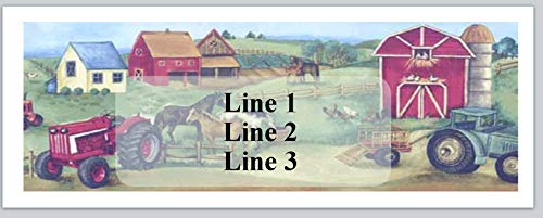 150 Personalized Return Address Labels Country Scene Barn Horses Tractors Farm (jx 13)