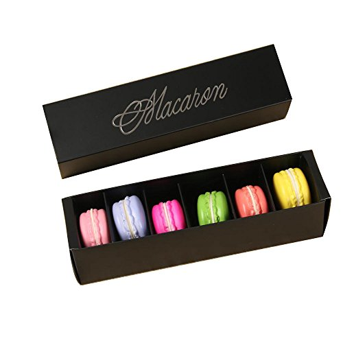 A-parts Macaron Box, Chocolate Container, Cookie Holder, Hold 6 Macarons 10 Packs Gift Boxes without Macaron (Black) ()