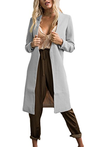 Women's Long Sleeve Open Front Long Blazer Jacket Cardigan Coat