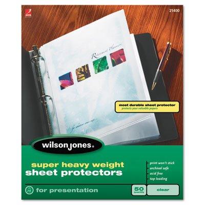 Wilson Jones Super Heavy Weight Sheet Protector, Clear Finish, Clear, 25 per Box (21402) (Sheet Finish Protector Clear)