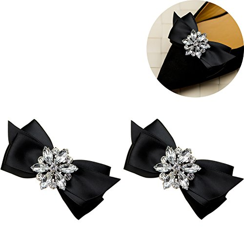 Black Rhinestone Clip - WINGOFFLY 1 Pair Decorative Rhinestone Ribbon Bow Wedding Party Shoe Clip(Black)
