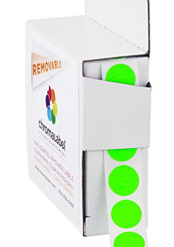 ChromaLabel 1/2 inch Removable Color-Code Dot Labels | 1,000/Dispenser Box (Fluorescent Green)