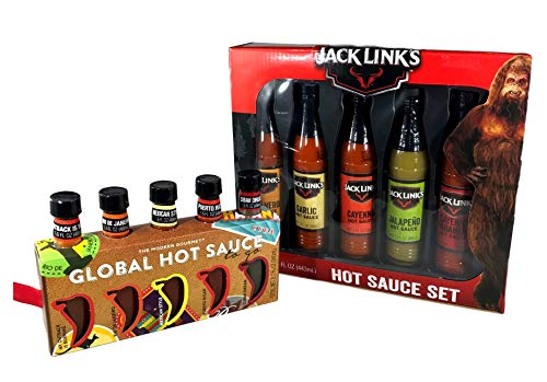 - Hot Sauce Holiday Gift Set - Jack Links 5 Flavor Box & Global Hot Sauce 5 Flavor Box Set - 2 box Bundle