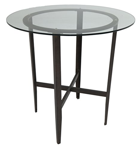 Impacterra Barbados Bar Table, Counter Height, Autumn Rust/Clear Glass