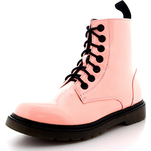 Womens Pink Boots (Womens Flat Combat Miltary Army Goth Retro Vintage Rock Lace Up Boots - Pink Patent - US6/EU37 - DR0012)