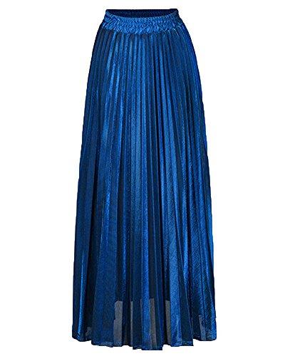 Saphir Taille Plisse Femme Couleur Grande Maxi Haute Fit Jupe Pure Bleu Plage Slim Taille wqIA7dq5x