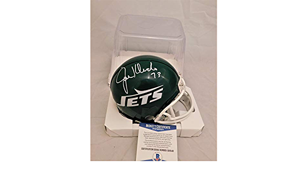 JOE KLECKO Signed//Autographed Jets Authentic Throw Back Mini Helmet Beckett COA BAS